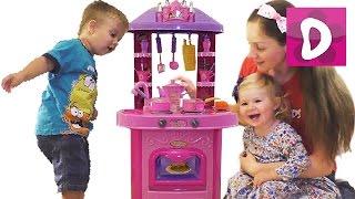 getlinkyoutube.com-✿ Детская кухня Распаковка с Мамой Звук, Свет Toy Kitchen vegetables cooking soup