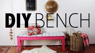 DIY Furniture Makeover:  Shibori Stained Bench