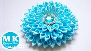 getlinkyoutube.com-Мастер-класс канзаши. Цветок из атласных лент.