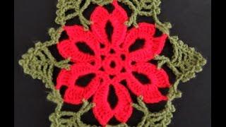 getlinkyoutube.com-Crochet : Flor de Navidad # 2.  Parte 1 de 2