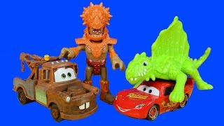 getlinkyoutube.com-Disney Pixar Cars Adventures Of Mater And Lightning McQueen Explore The Imaginext Dino Fortress