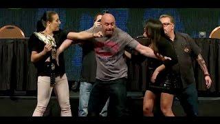 getlinkyoutube.com-Dana White Gets Hit During Cormier vs. Jones and Jedrzejczyk vs. Gadelha Face Offs