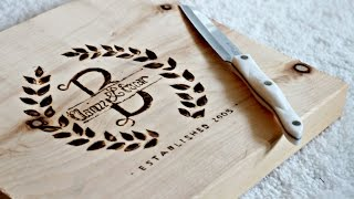 getlinkyoutube.com-DIY Personalized Cutting Board - How to BURN WOOD - Engraving wood!