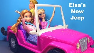 getlinkyoutube.com-Frozen Elsa and Anna Review Barbie Safari Jeep Toy Review