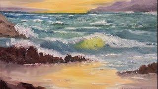 "getlinkyoutube.com-Paint Along with Larry Hamilton - Jan-15-2014 - Oil Painting ""Oregon Seascape"" for Class"