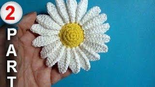 getlinkyoutube.com-Как вязать ромашку крючком Урок 27 Howto crochet camomile 2 part