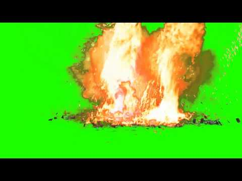 hand grenade fall to the ground and explode - green screen effects