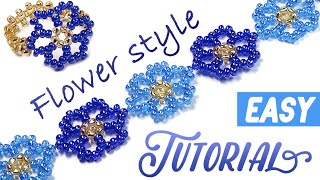 getlinkyoutube.com-How-to make a beautiful ✿ flower ✿ bracelet using a seed beads / МК: Цветочный браслет из бисера