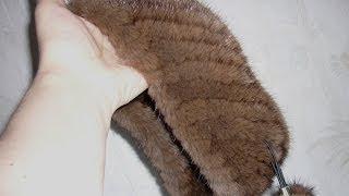 getlinkyoutube.com-Вязание мехом. Повязка на голову из меха норки.