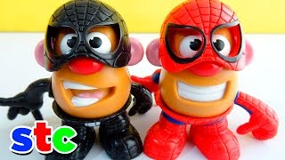 getlinkyoutube.com-Mr Potato Head Marvel Spiderman vs Venom