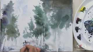 getlinkyoutube.com-umTart : 수채화 지하철 그리기 4색 watercolor painting subway station four-color