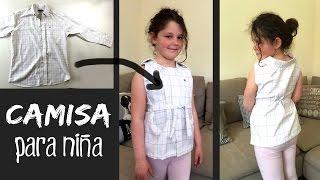 getlinkyoutube.com-CAMISA reciclada para niña * Cómo RECICLAR una camisa de adulto