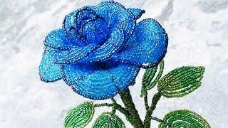 getlinkyoutube.com-PART 1 tutorial: blue rose out of beads (Как cделать синюю розу из бисера)
