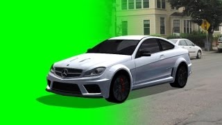 getlinkyoutube.com-Mercedes-Benz C63 AMG drive on green screen  - different views -  free Car green screen