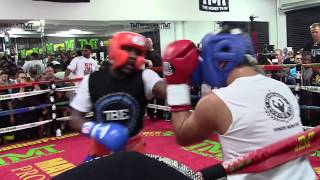 getlinkyoutube.com-FLOYD MAYWEATHER DESTROYS SPARRING PARTNERS 8/26/15 HoopJab
