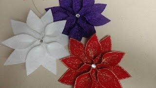 getlinkyoutube.com-Diy:Manualidades para Navidad: Flor de pascua para decorar el arbol de Navidad