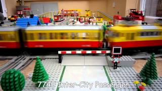 getlinkyoutube.com-Lego Town Trains - 12v Lego Train Layout from 1980's