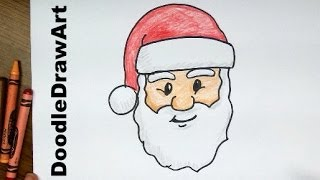 getlinkyoutube.com-How To Draw Santa Claus Face! Step by Step Lesson cartoon easy beginners - with coloring page