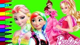 getlinkyoutube.com-DISNEY FROZEN BARBIE PRINCESS Compilation Peppa Pig Barbie Fairytopia Coloring Pages Video For Kids