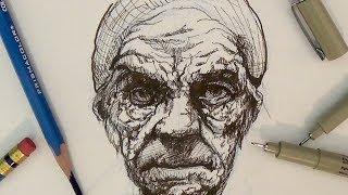 getlinkyoutube.com-Pen and Ink Drawing Tutorials   Portrait Drawing Demonstration I