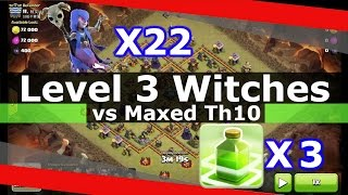 getlinkyoutube.com-WRECKED! 22 Level 3 Witches Attack + 3 Jump Spells vs Maxed Th10!!!
