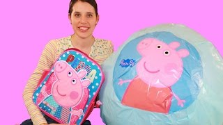 Peppa Pig GIANT SURPRISE Egg Episode Play-Doh Surprise George Pig Peppa Keychain Backpack MLP Video