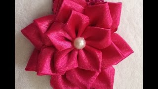 getlinkyoutube.com-Flor de Fita de Cetim Fácil - Easy Satin Ribbon Flower