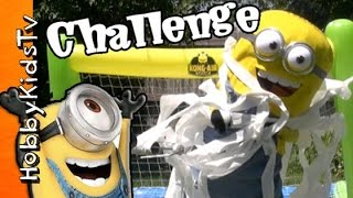 getlinkyoutube.com-Toilet Paper MINION Challenge! GIANT Jumping Minion on Trampoline by HobbyKidsTV