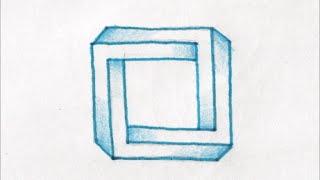 getlinkyoutube.com-[だれでも描ける!線画アート] 面白いだまし絵の描き方(四角形編) How to draw
