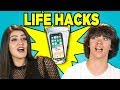 10 LIFE HACKS YOU NEED TO KNOW with TEENS REACT