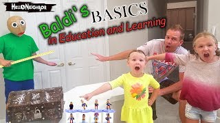 Baldi's Basics in Real Life Hello Neighbor Statues Toy Scavenger Hunt! Blind Bags!!!