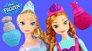 getlinkyoutube.com-Color Changing Frozen Elsa + Princess Anna Disney Barbie Doll Coloring Change Toys DCTC 2015