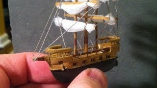 getlinkyoutube.com-The 2inch Long Galleon on Ocean (time lapse) Created (carved & sculpted) from Balsa Wood - Toy Boat