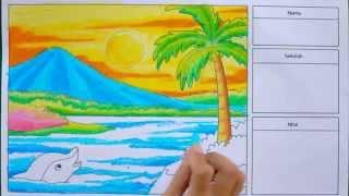 getlinkyoutube.com-Cara Cepat Mewarnai Pemandangan Alam dengan Krayon (Oil Pastel)
