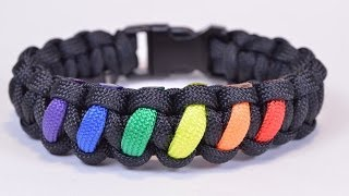 getlinkyoutube.com-Make a Rainbow Colored Paracord Survival Bracelet with Buckle - BoredParacord