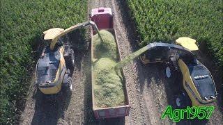 getlinkyoutube.com-NEW FR850 & FR9060 - TWO BIG NEW HOLLAND Silage Harvester | RENAULT Truck & JCB Fastrac 8310