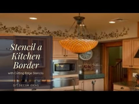 How to Stencil a Kitchen Border with a Wall Stencil by Cutting Edge Stencils. DIY decor ideas.