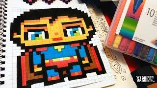 getlinkyoutube.com-Handmade Pixel Art - How To Draw a Cute SuperMan by Garbi KW