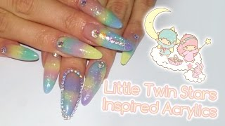 getlinkyoutube.com-Little Twin Stars inspired Acrylic Nails | Nail art