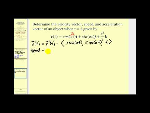 Determining Velocity, Speed, and Acceleration Using a Vector Valued Function