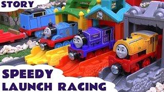 getlinkyoutube.com-Thomas & Friends Speedy Launch Racing Play Doh Story Accident Cars Peppa Pig Frozen Funny Mario