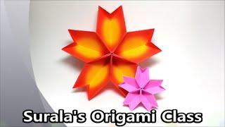 getlinkyoutube.com-Origami - Cherry Blossom (Dish) / 종이접기 - 벚꽃 (접시, 그릇)