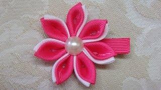 getlinkyoutube.com-Diy kanzashi flower, kanzashi hair clip tutorial, ribbon flowers,kanzashi flores de cinta