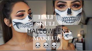 getlinkyoutube.com-Half Skull HALLOWEEN Makeup Look