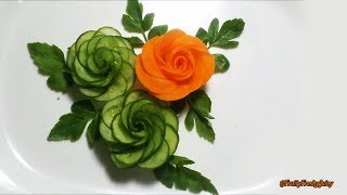 getlinkyoutube.com-How To Make Cucumber Rose - Cucumber Carving & Cutting Techniques