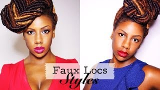 getlinkyoutube.com-Faux Locs Styles: Braided Bun and Fishtail Braid Updo