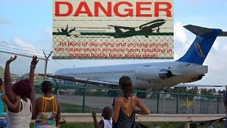 "getlinkyoutube.com-St. Maarten's strongest Jet Blast  ""The Beast"" MD80 from Insel Air at Maho Beach"