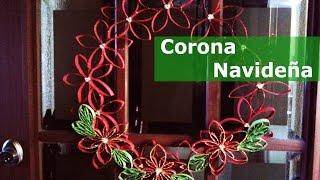 getlinkyoutube.com-Corona de navidad reciclando tubos de cartón