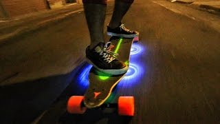 getlinkyoutube.com-Custom LightUp Motorized SkateBoard