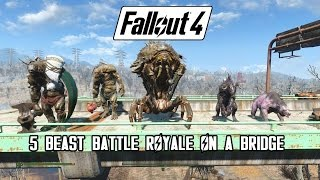 getlinkyoutube.com-Fallout 4 - Battle On A Bridge (Swan, Behemoth, Mirelurk Queen, Deathclaw & Yao Guai)